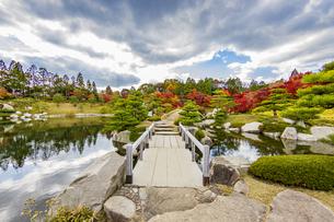 鏡面に映る紅葉風景が美しい三景園の写真素材 [FYI04638808]