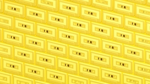 Many yellow cassette tapes on yellow background.3d illustration for background.のイラスト素材 [FYI04639431]