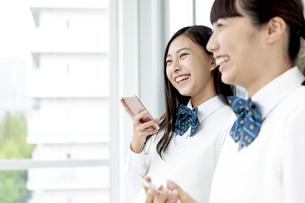 スマートフォンを持つ女子学生の写真素材 [FYI04639864]