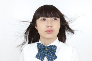 髪をなびかせる女子学生の写真素材 [FYI04640065]