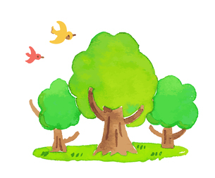 木と鳥のイラスト素材 [FYI04640103]