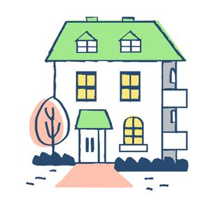 白壁グリーンの屋根の家のイラスト素材 [FYI04640146]