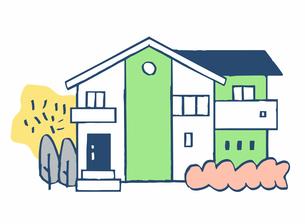 グリーンとホワイト2色の家のイラスト素材 [FYI04640149]