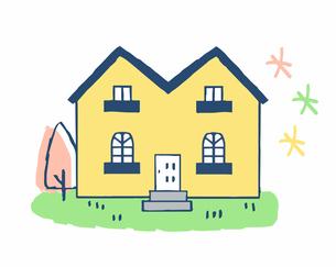 黄色の壁の家のイラスト素材 [FYI04640150]