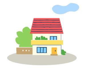 赤い屋根の二階建てのイラスト素材 [FYI04640153]