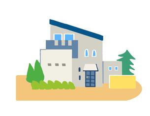 ブルーの屋根の家のイラスト素材 [FYI04640154]