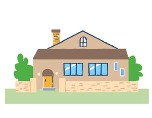 塀のある茶色の家のイラスト素材 [FYI04640155]