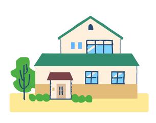 グリーンの屋根の家のイラスト素材 [FYI04640156]