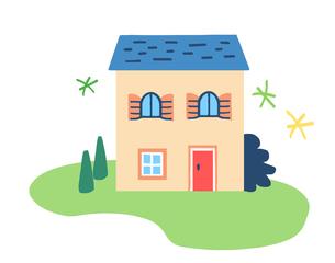 ブルーの屋根の家のイラスト素材 [FYI04640157]