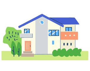 ブルーの屋根の家のイラスト素材 [FYI04640158]