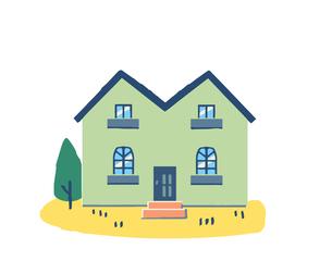 ブルーの屋根の家のイラスト素材 [FYI04640159]