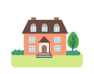 茶色の屋根の家のイラスト素材 [FYI04640160]