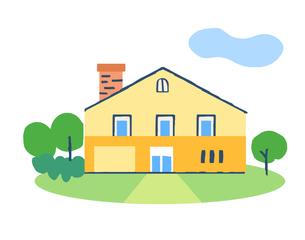 煙突のある黄色い家のイラスト素材 [FYI04640161]