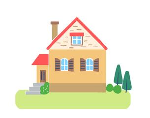 ピンクの屋根の家のイラスト素材 [FYI04640162]