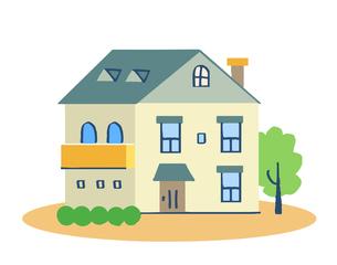 ブルーの屋根の家のイラスト素材 [FYI04640163]
