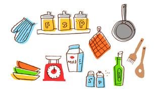 さまざまなキッチン雑貨のセットのイラスト素材 [FYI04640169]