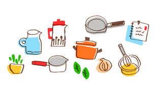さまざまなキッチン雑貨のセットのイラスト素材 [FYI04640170]