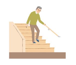階段を降りるシニア男性のイラスト素材 [FYI04640177]