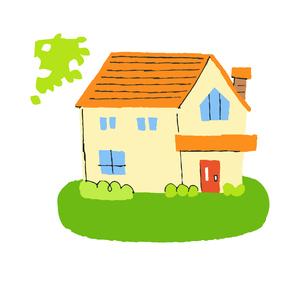 オレンジ色の屋根の家のイラスト素材 [FYI04640193]