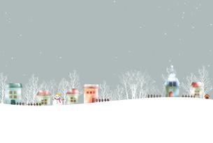 レトロな冬の町並み風景のイラスト素材 [FYI04640757]