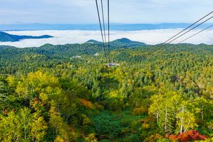 旭岳ロープウェイから見る紅葉と雲海の写真素材 [FYI04642130]