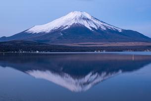 【山梨県】山中湖からみる冬の逆さ富士と冨士山 自然風景の写真素材 [FYI04642506]