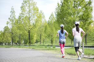 ジョギングをする親子の写真素材 [FYI04642845]