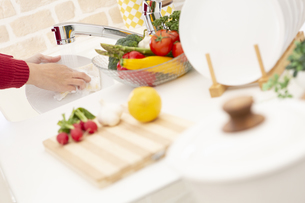 食器を洗う女性の写真素材 [FYI04643979]
