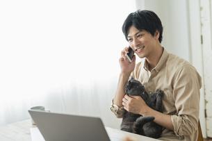 リモートワークをする男性と猫の写真素材 [FYI04644121]