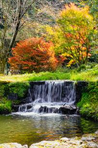 湯平温泉(大分県由布市)、花合野川の滝の紅葉の写真素材 [FYI04644668]