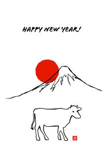 丑年の年賀状テンプレート 富士山と日の出のイラスト素材 [FYI04644689]