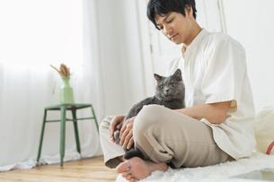 リモートワークをする男性と猫の写真素材 [FYI04644789]