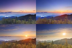 美ヶ原高原美術館付近から望む紅葉の樹林と浅間山と昇る朝日の写真素材 [FYI04645259]