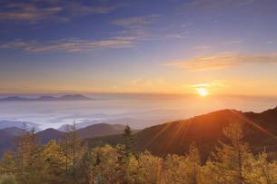 美ヶ原高原美術館付近から望む紅葉の樹林と浅間山と朝日の写真素材 [FYI04645265]