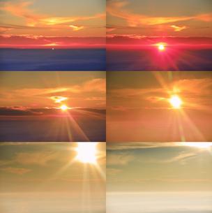 美ヶ原高原美術館付近から望む昇る朝日と佐久方向の雲海の写真素材 [FYI04645266]