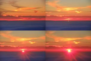 美ヶ原高原美術館付近から望む昇る朝日と佐久方向の雲海の写真素材 [FYI04645267]