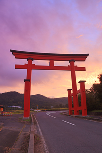 生島足島神社の大鳥居と朝焼けの写真素材 [FYI04645518]