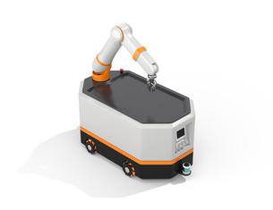 白バックに無人搬送車AGVのコンセプトイメージの写真素材 [FYI04645748]