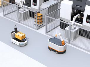 AGV無人搬送車、マシニングセンタ、ロボットセルトユニットがあるスマート工場のコンセプトイメージの写真素材 [FYI04645754]
