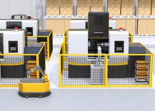 AGV無人搬送車、マシニングセンタ、ロボットセルトユニットがあるスマート工場のコンセプトイメージの写真素材 [FYI04645759]