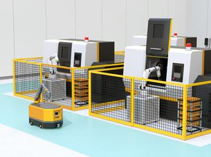 AGV無人搬送車、マシニングセンタ、ロボットセルトユニットがあるスマート工場のコンセプトイメージの写真素材 [FYI04645760]