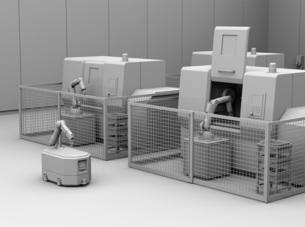 AGV無人搬送車、マシニングセンタがあるスマート工場のクレイレンダリングイメージの写真素材 [FYI04645762]