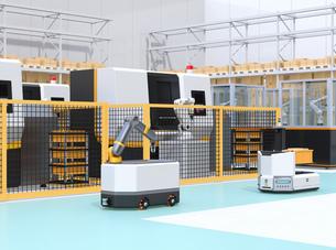 AGV無人搬送車、マシニングセンタ、ロボットセルトユニットがあるスマート工場のコンセプトイメージの写真素材 [FYI04645763]