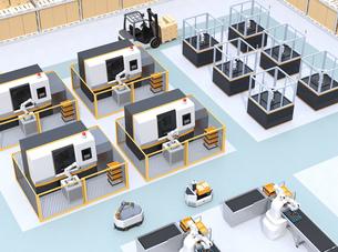 AGV無人搬送車、マシニングセンタ、ロボットセルトユニットがあるスマート工場のコンセプトイメージの写真素材 [FYI04645765]