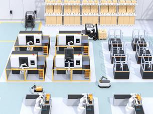 AGV無人搬送車、マシニングセンタ、ロボットセルトユニットがあるスマート工場のコンセプトイメージの写真素材 [FYI04645766]