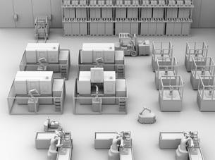 AGV無人搬送車、マシニングセンタがあるスマート工場のクレイレンダリングイメージの写真素材 [FYI04645768]