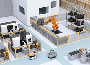 協働型双腕ロボット、AGV無人搬送車、マシニングセンタ、大型産業ロボットがあるスマート工場の写真素材 [FYI04645769]