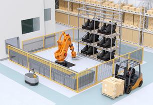 AGV無人搬送車、大型産業ロボットが備えるスマート工場のコンセプトイメージの写真素材 [FYI04645771]