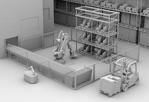 AGV無人搬送車、マシニングセンタがあるスマート工場のクレイレンダリングイメージの写真素材 [FYI04645772]