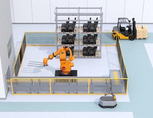 AGV無人搬送車、大型産業ロボットが備えるスマート工場のコンセプトイメージの写真素材 [FYI04645773]